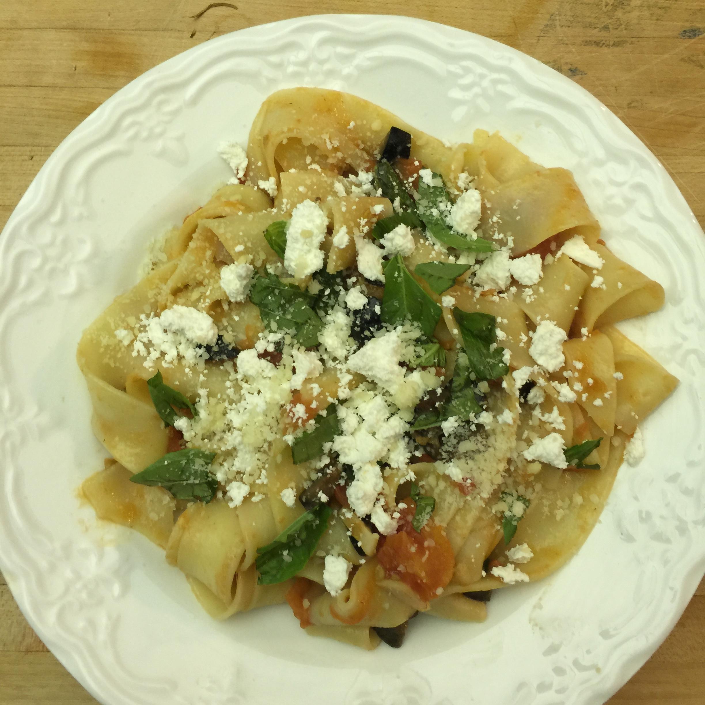 Fresh Pappardelle Pasta with Summer Tomato-Olive Ragu & Ricotta Salata