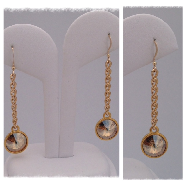 Swarovski golden crystal drop with gold aluminum chain and gold filled earwire