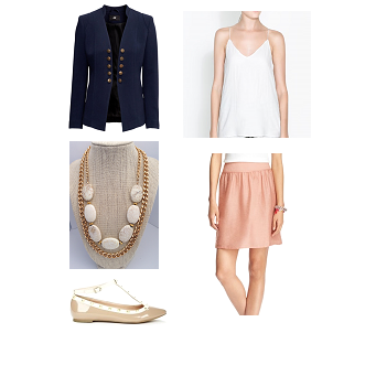 Blouse: Zara  Skirt: the LOFT  Blazer: H&M  Necklace: House of Zada  Flat: Sole Society