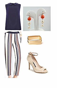 how to wear orange and navy