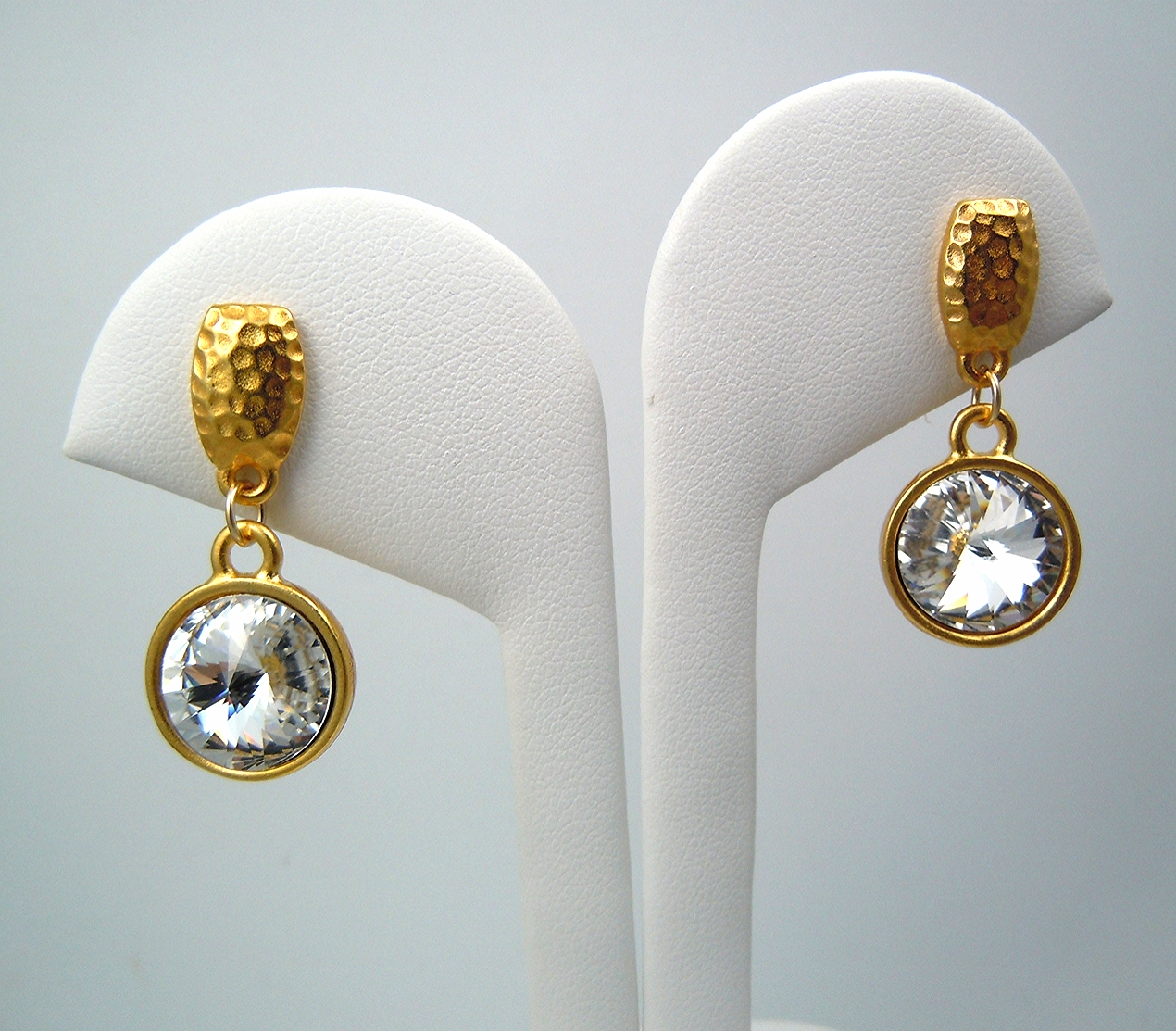 Gold version of my hammertone silver plated pewter Swarovski earring.