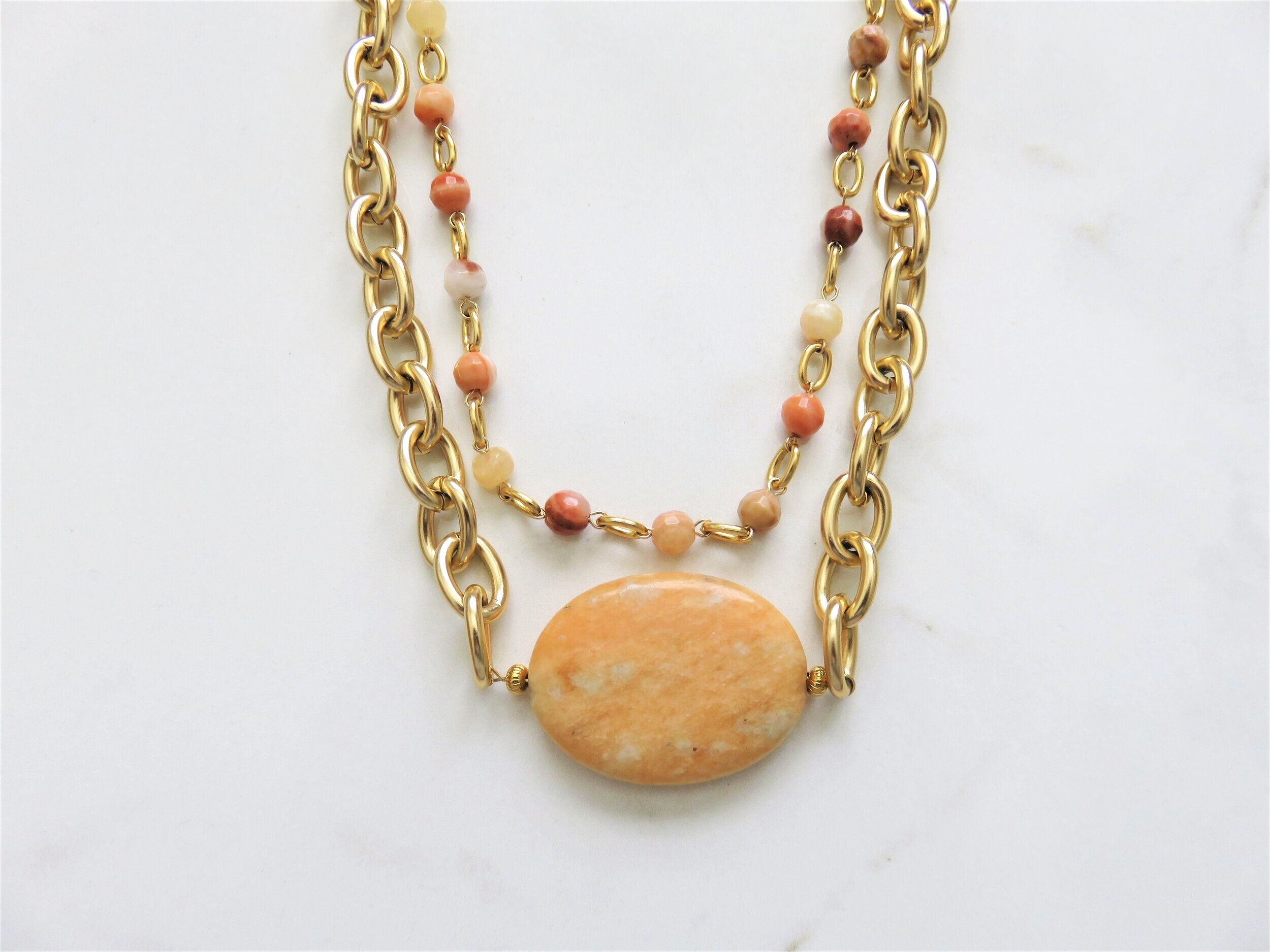 orange+and+gold+gemstone+necklace+2+layer+handmade.jpg