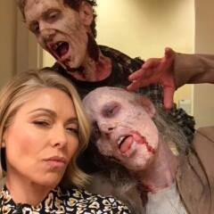 With Kelly Ripa for AMC Walking Dead Promo