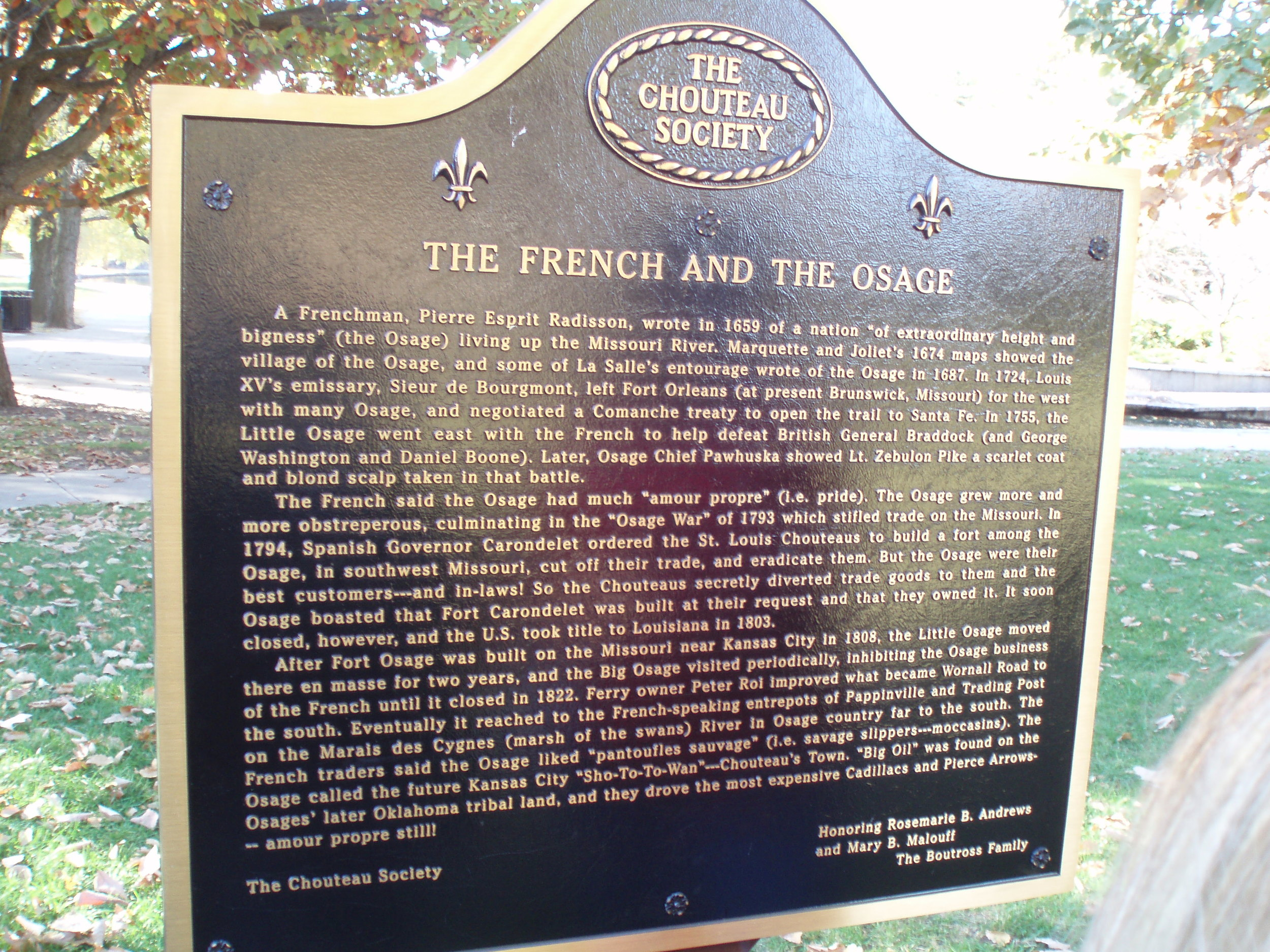 Chouteau Marker No. 11. Located at the Loose Park Lagoon, on Wornall Road south of 51st Street