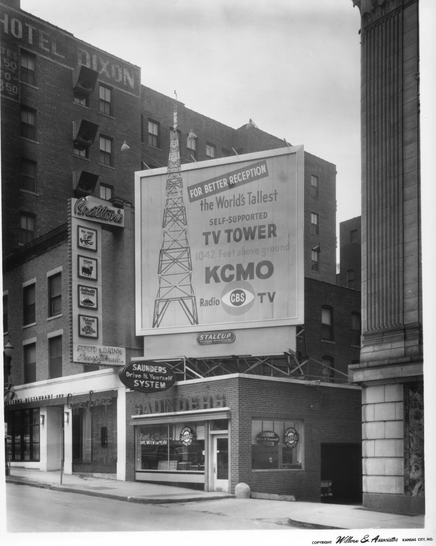 Wilborn Collection Bretton's Restraurant and KCMO TV5 billboard on Baltimore Avenue WA162.jpg