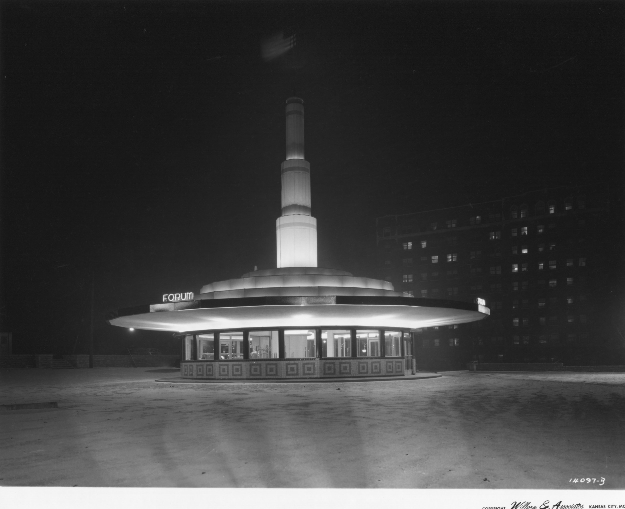 Wilborn Collection Forum Drive In Restraurant February 23 1942  night view 48th Street and Main on C. C. Plaza 14097-B.jpg