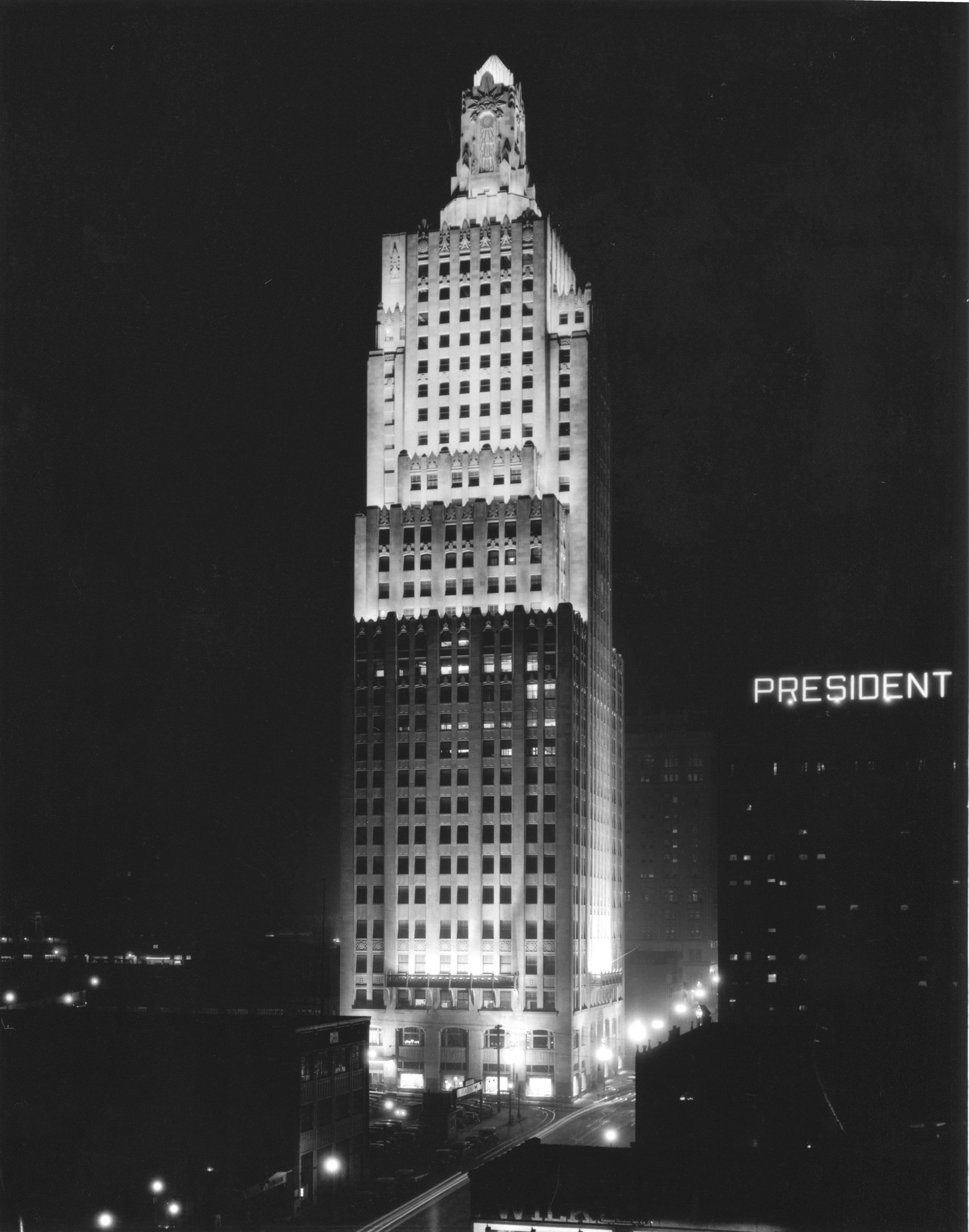 Wilborn Collection Kansas City Power & Light Tower nightime 1933 #9473-WA124-6.jpg