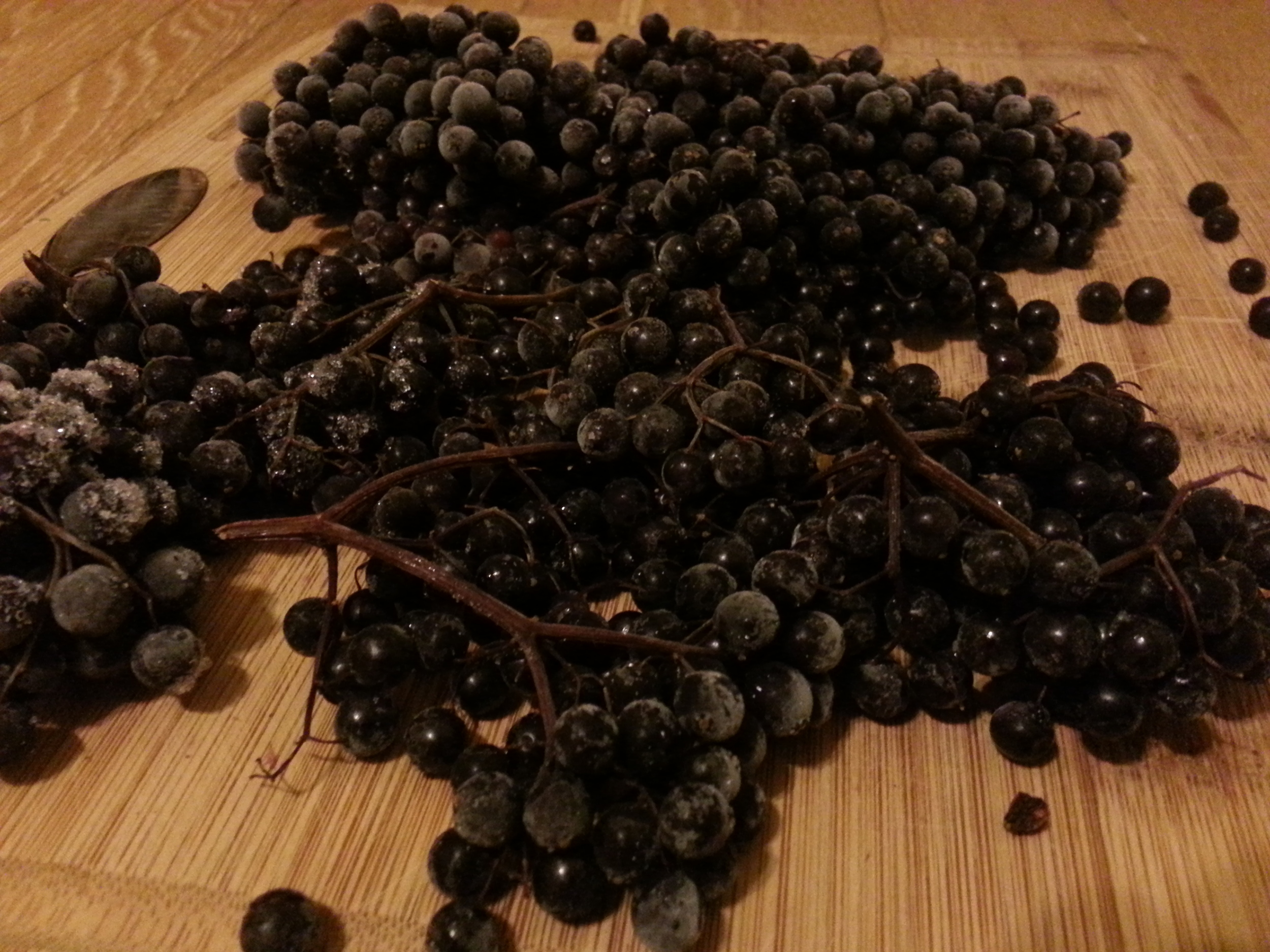 Elderberries. I froze these in the summer and made an oxymel from them in November!