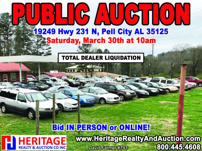 Online Public Car Auction >> Vehicle Auction 03 30 19 Heritage Realty Auction Co Inc