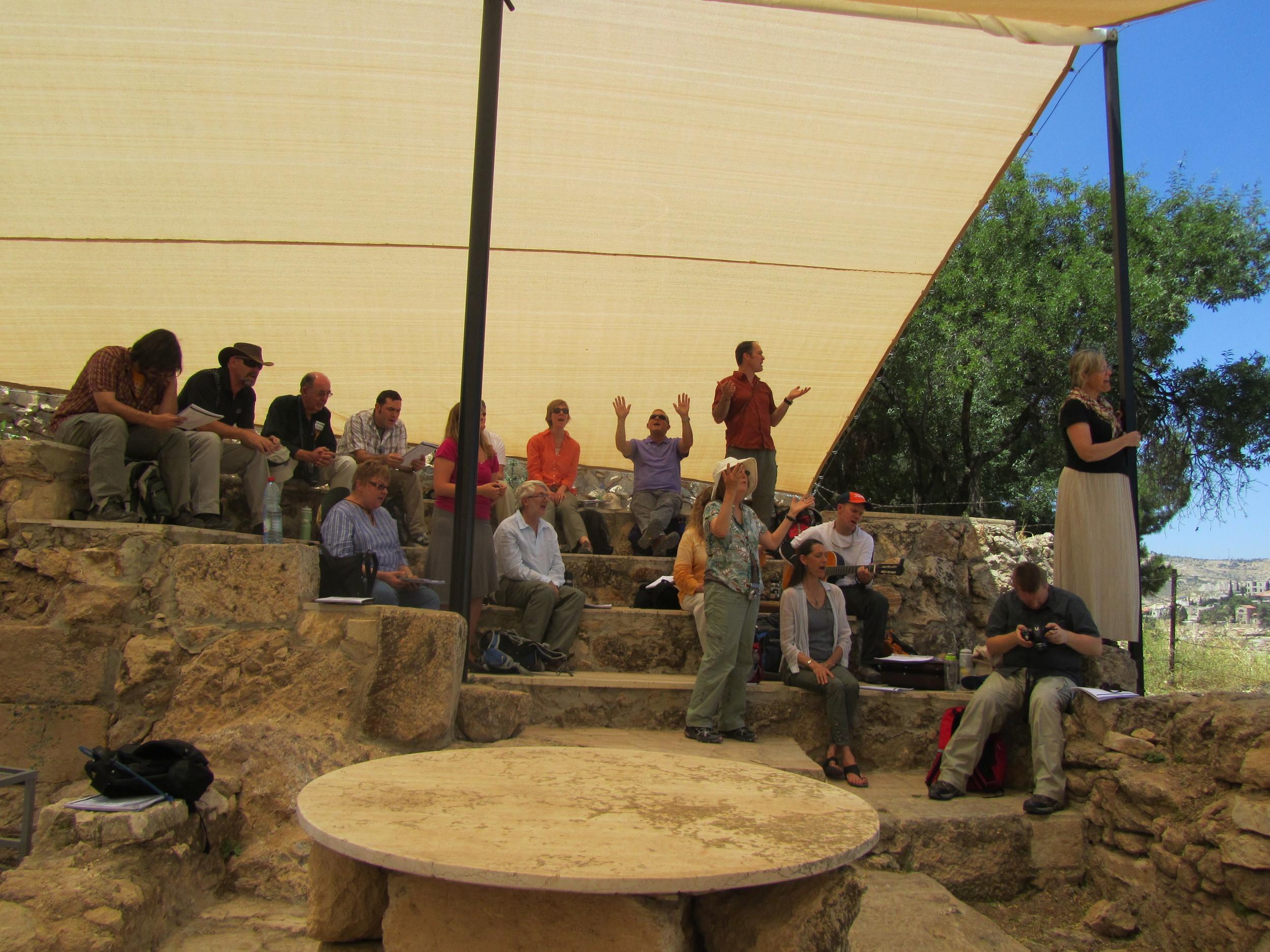 Worshiping at the Shepherd's Fields, Bethlehem