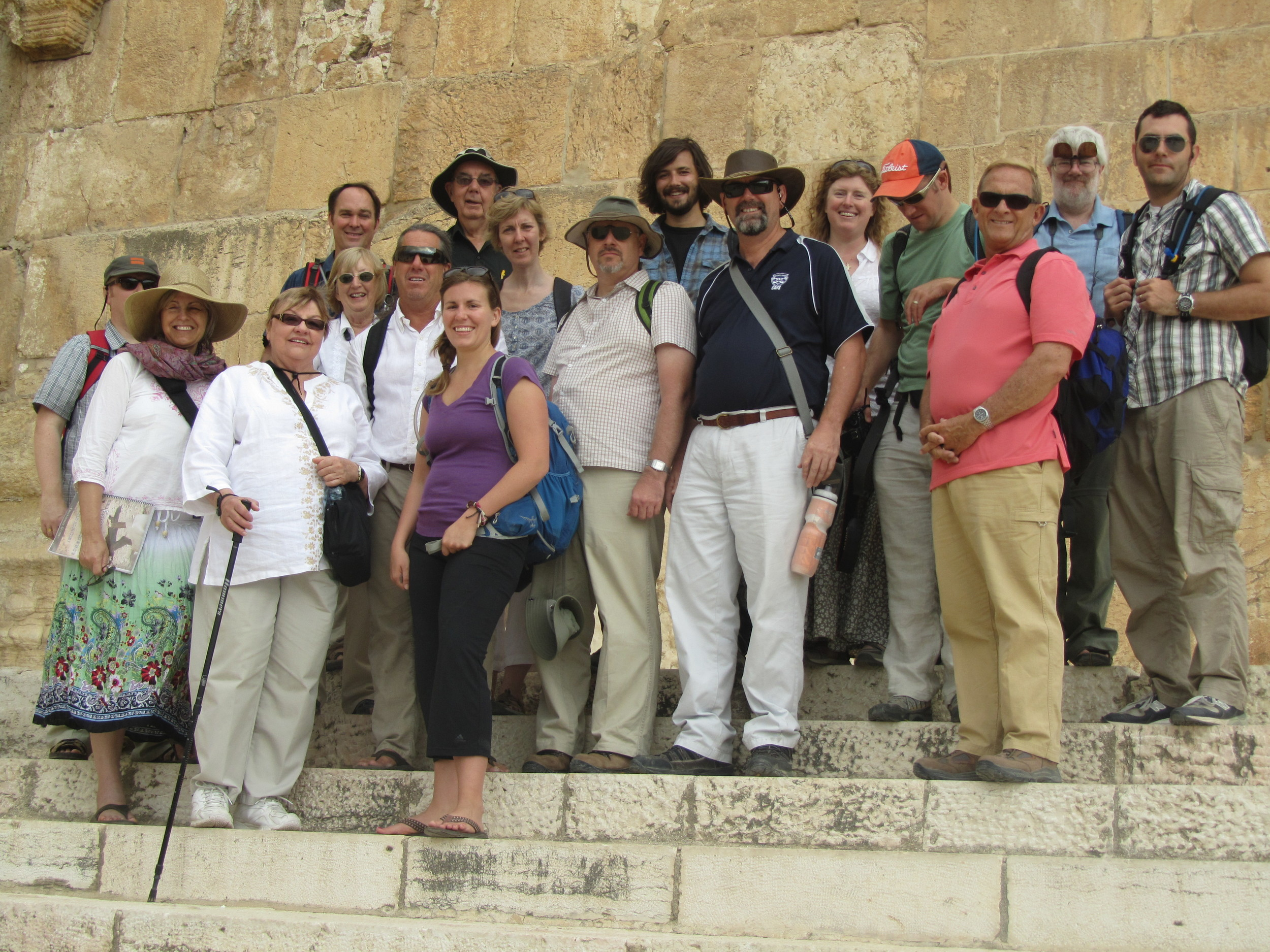 The group on the southern steps of the Temple