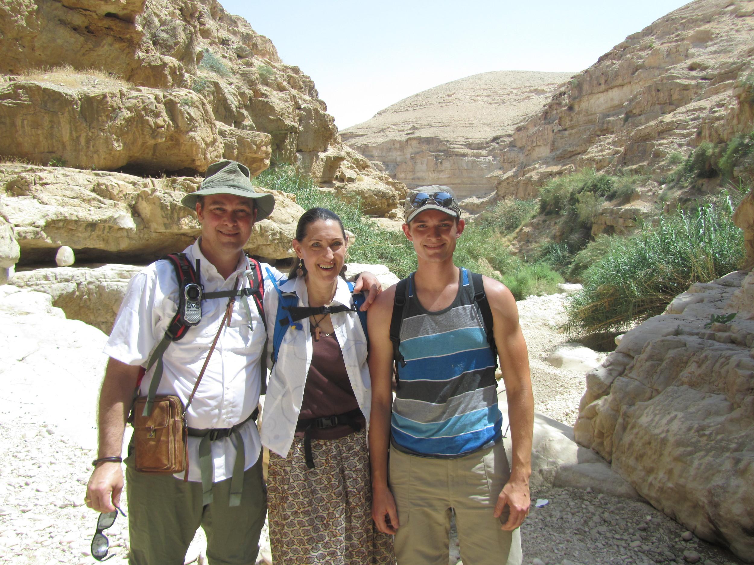 Bob, Pam, and Luke hiking in Wadi Kelt