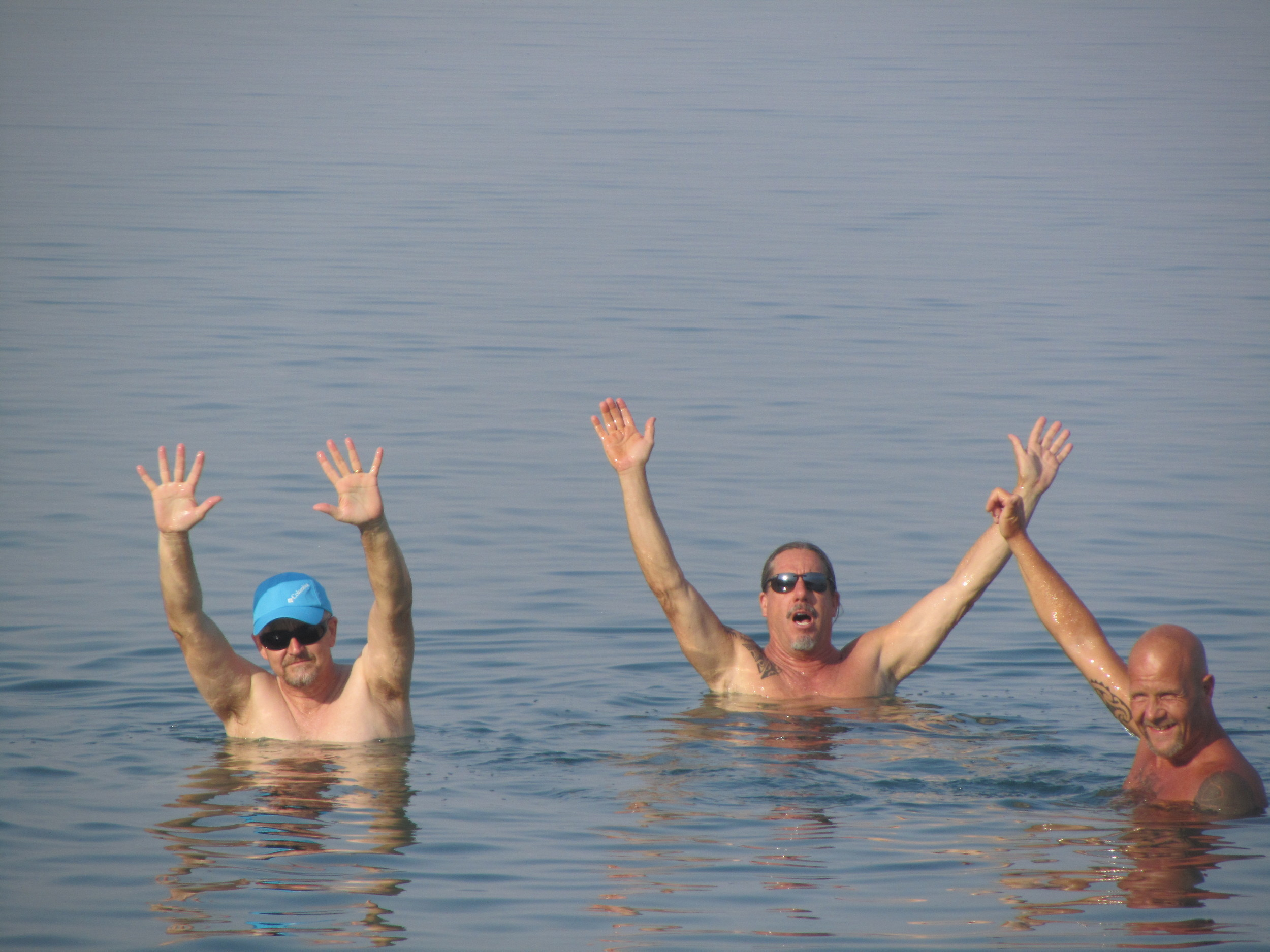 Art and Malcolm floating in thebuoyantwaters of the Dead Sea