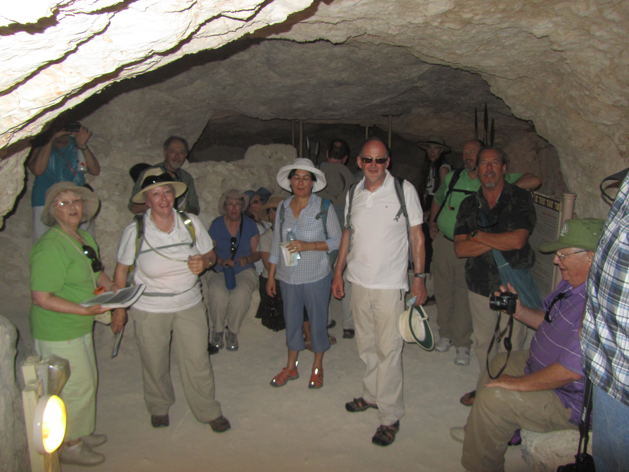 Enjoying natural air-conditioning in the Zealot tunnels leading to the summit of Herodium
