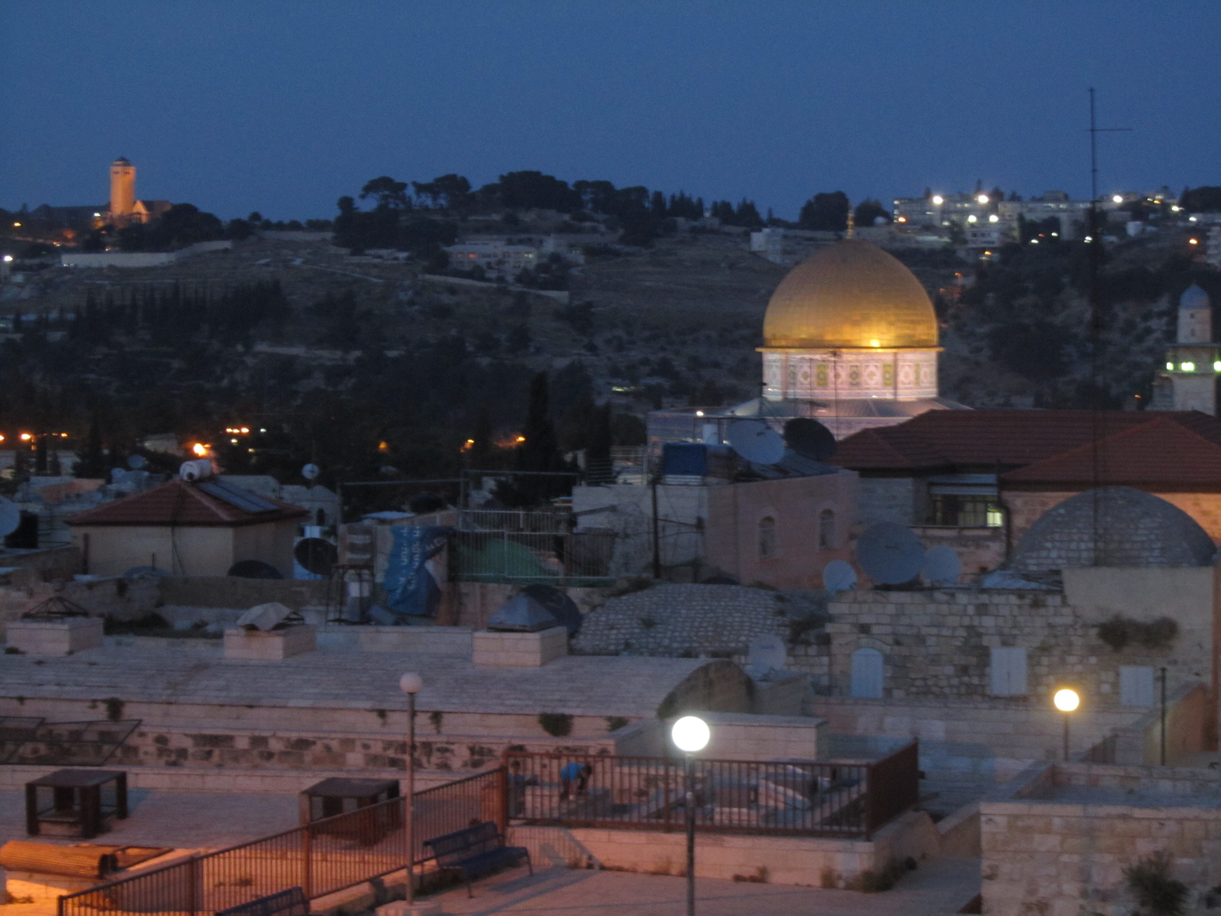 The Temple Mount from our balcony in Jerusalem