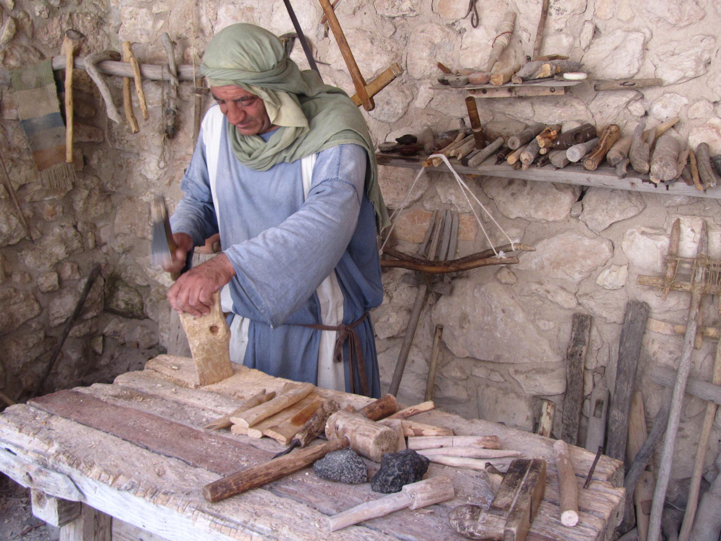 """Watching a """"tekton"""" (builder) at work in his workshop at Nazareth Village"""