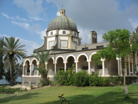 The Church of the Beatitudes over looking the Sea of Galige