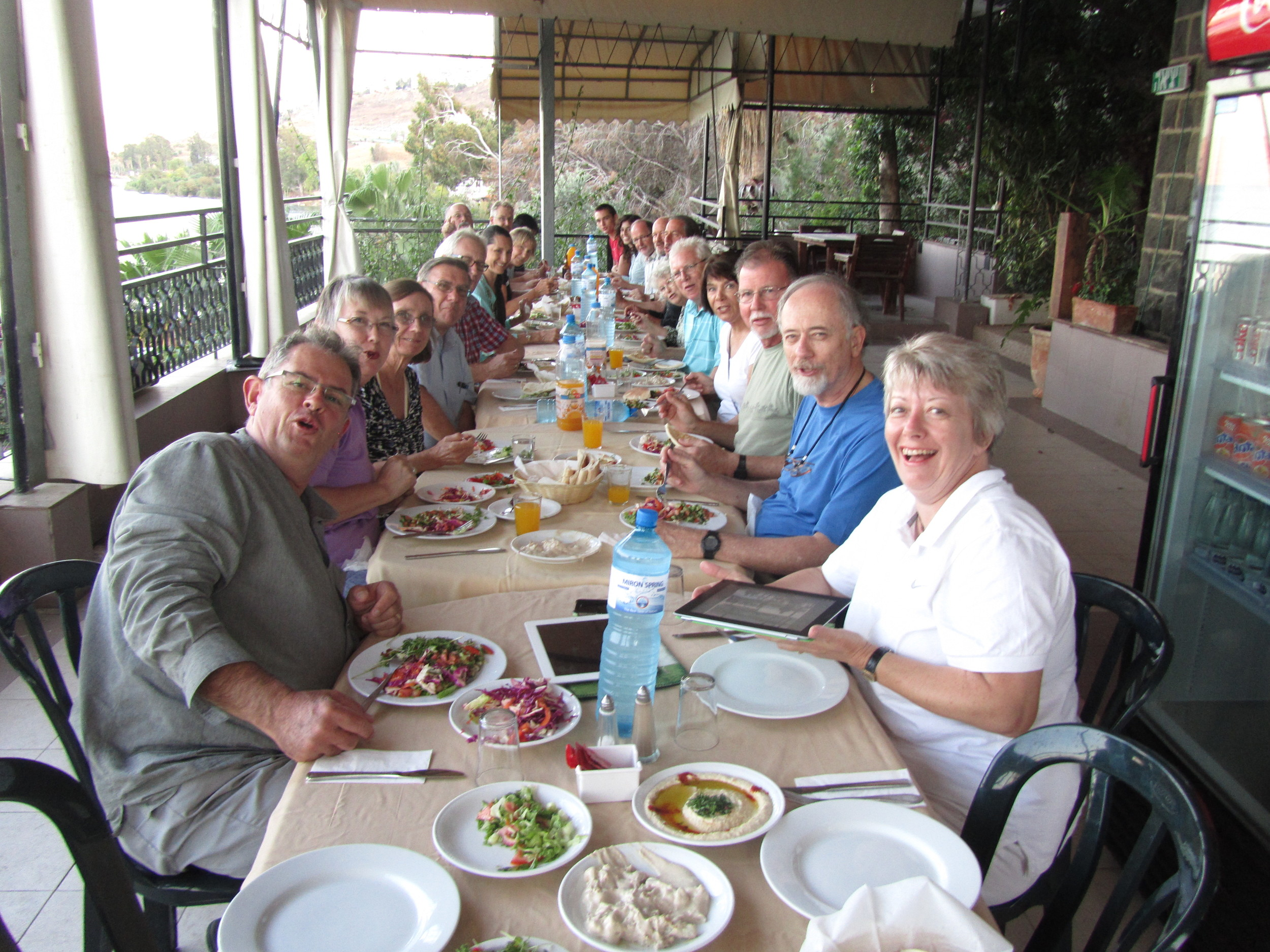 Another great dinner on the veranda of the Peniel Guesthouse overlooking the Sea of Galilee