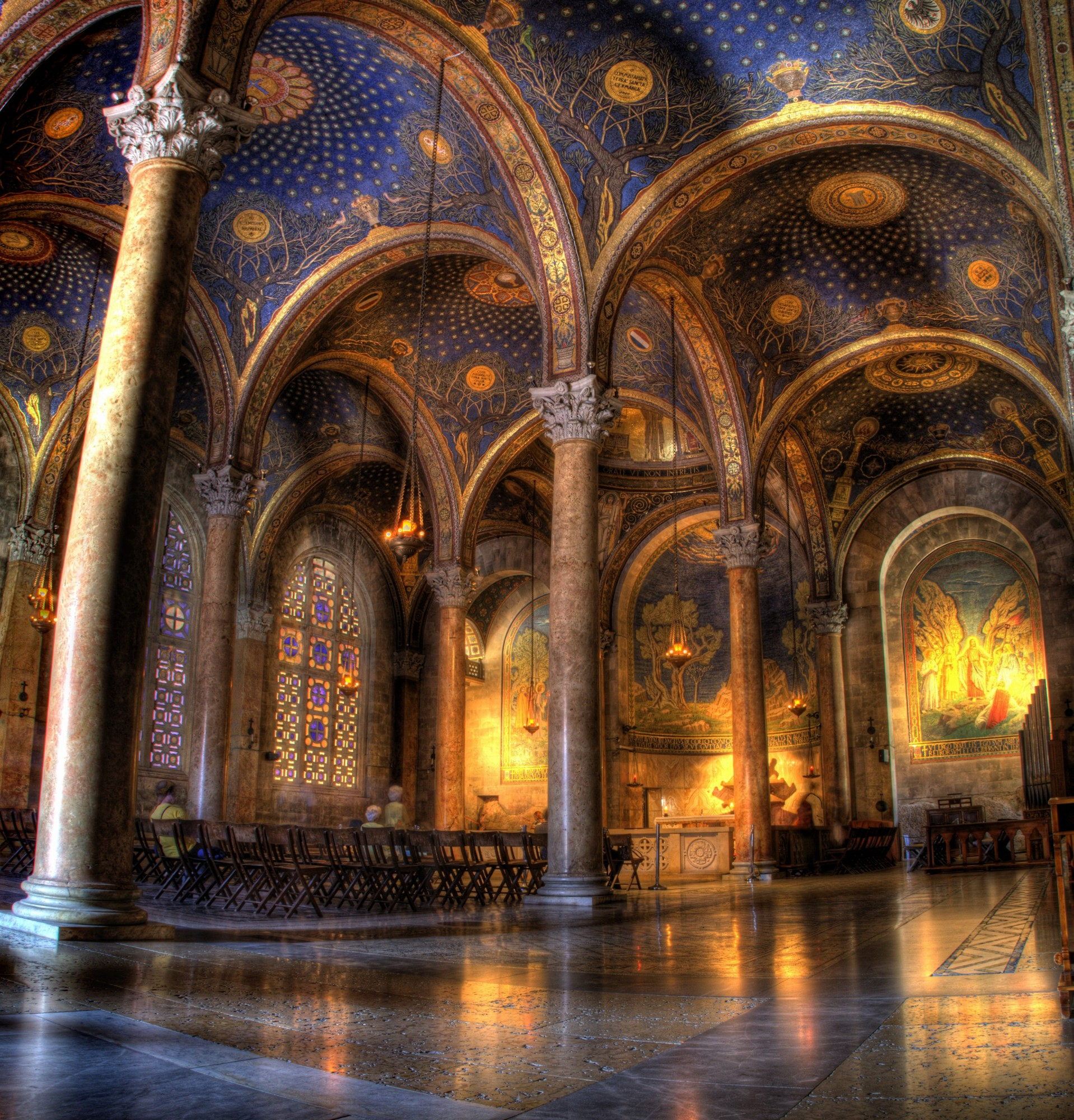 The interior of the Church of All Nations at Gethsemane