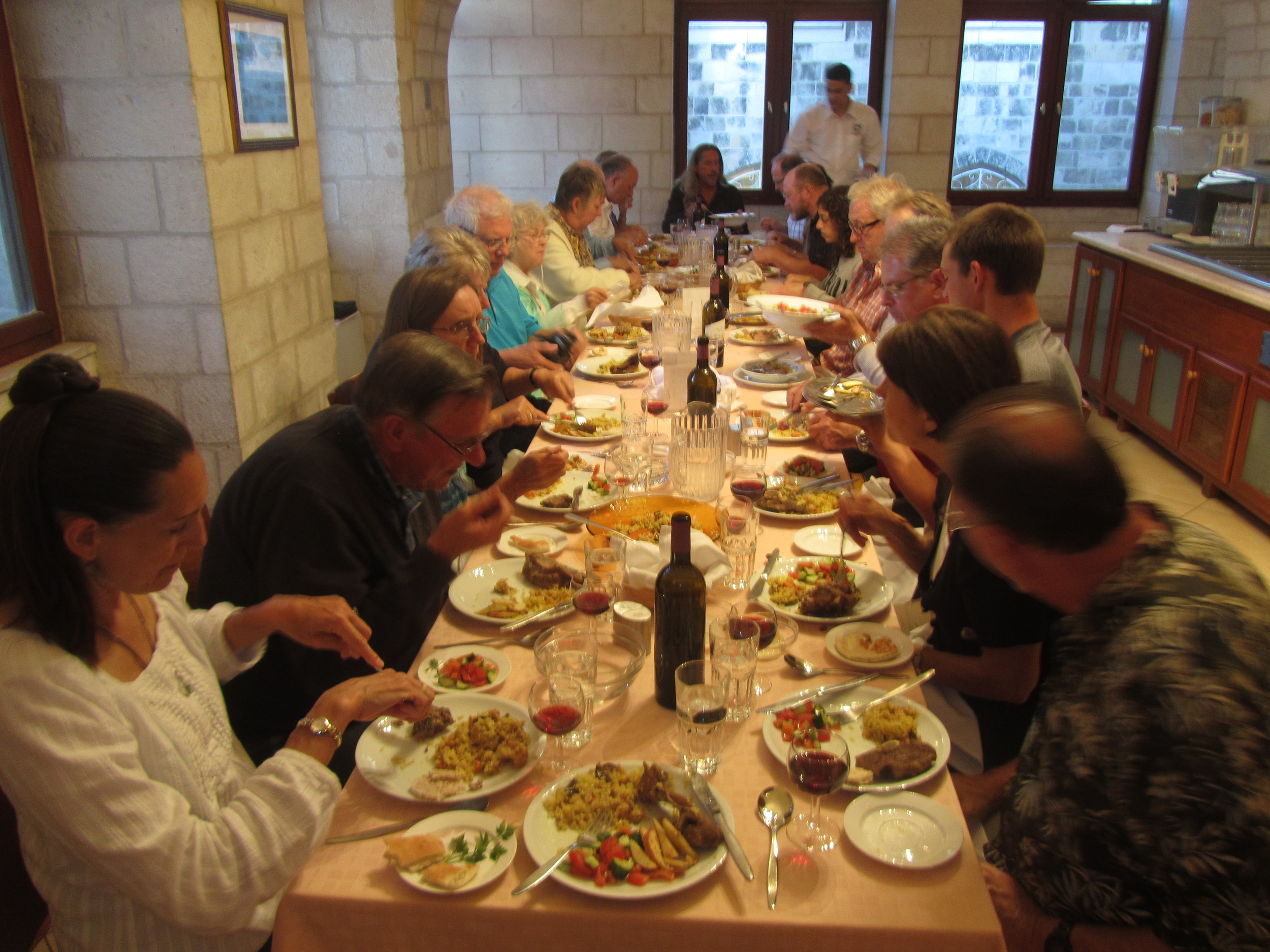 Our Passover dinner at the Lutheran Guesthouse