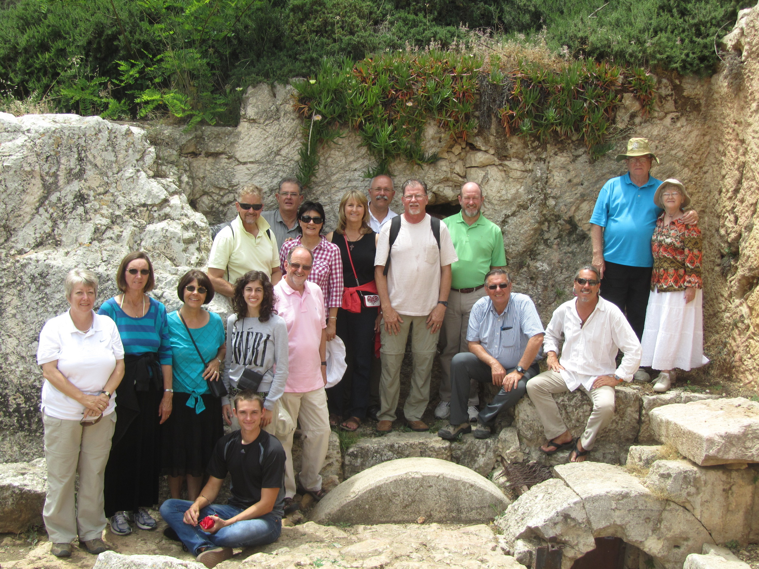 Our last group shot at the Herodian Family Tomb (with rolling stone)