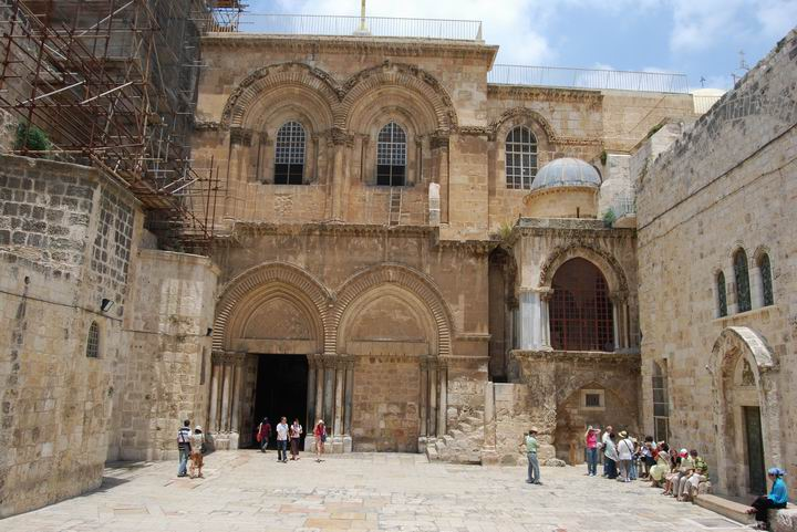 The ancient Church of the Holy Sepulcher built over the site of Jesus' crucifixion and resurrection