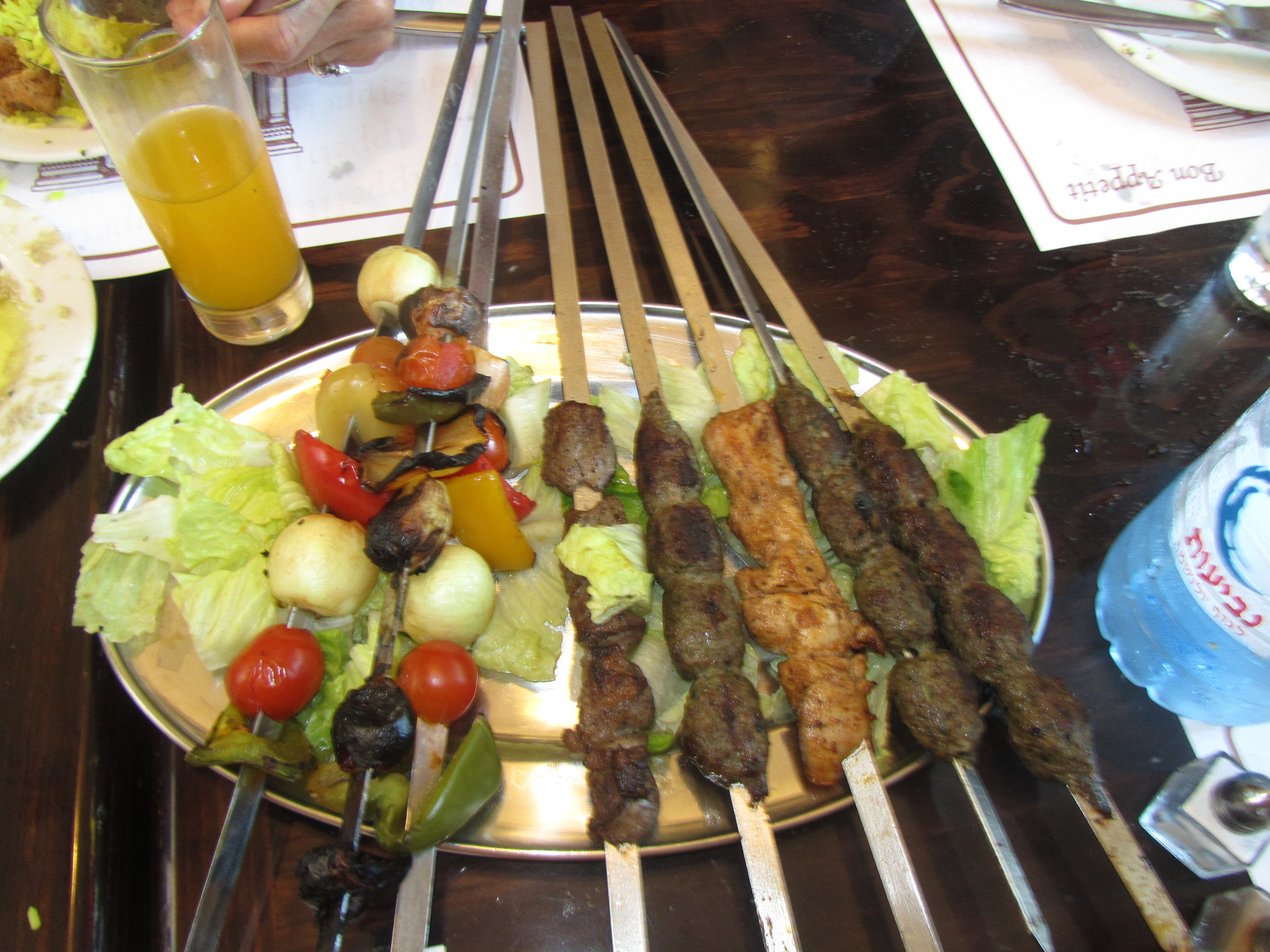Traditional mixed grill at Versavee Restaurant in the Old City of Jerusalem