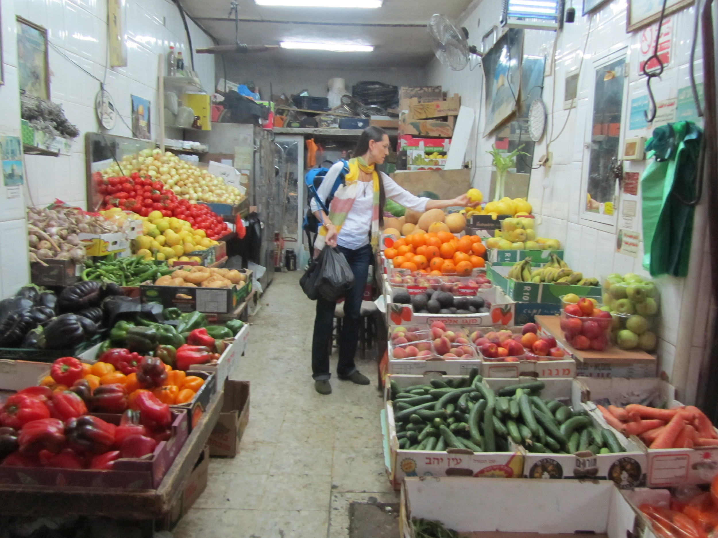 Pam Picking Out Fruit and Veggies in the Ancient Crusader Market
