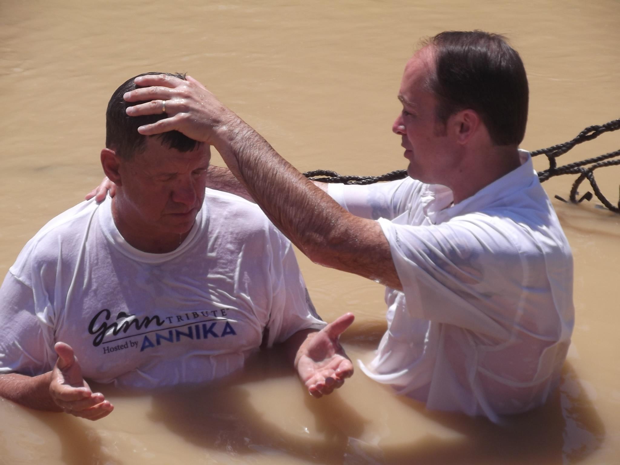 Pastor Jerry Renewing His Baptismal Covenant in the Jordan River