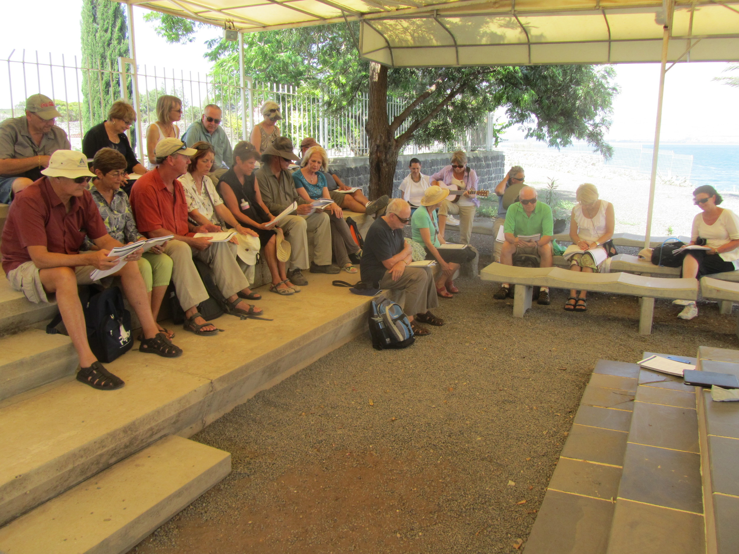 Enjoying a Time of Worship on the Beach at Capernaum