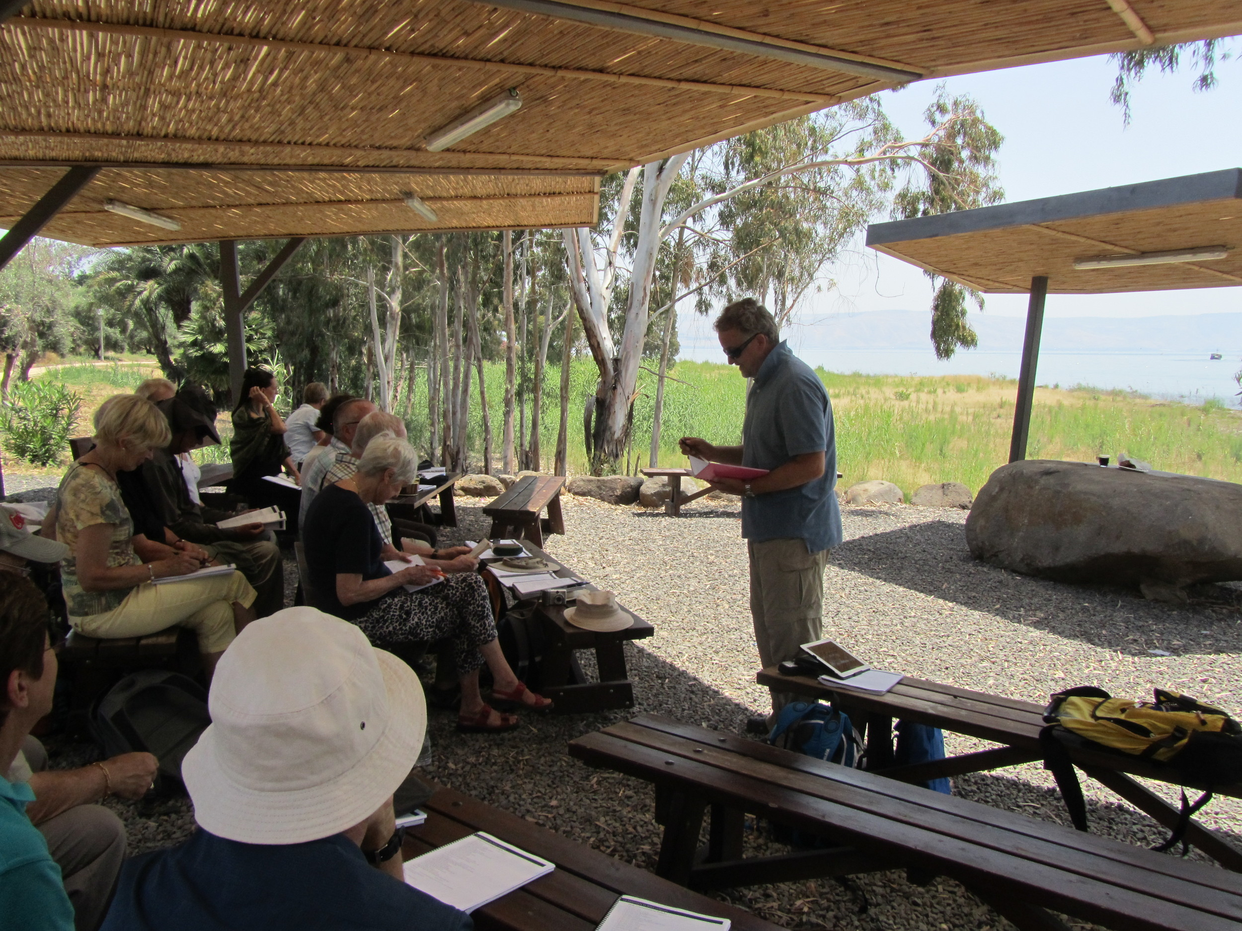 Malcolm Potts Preaching on the Shore at Tabgha
