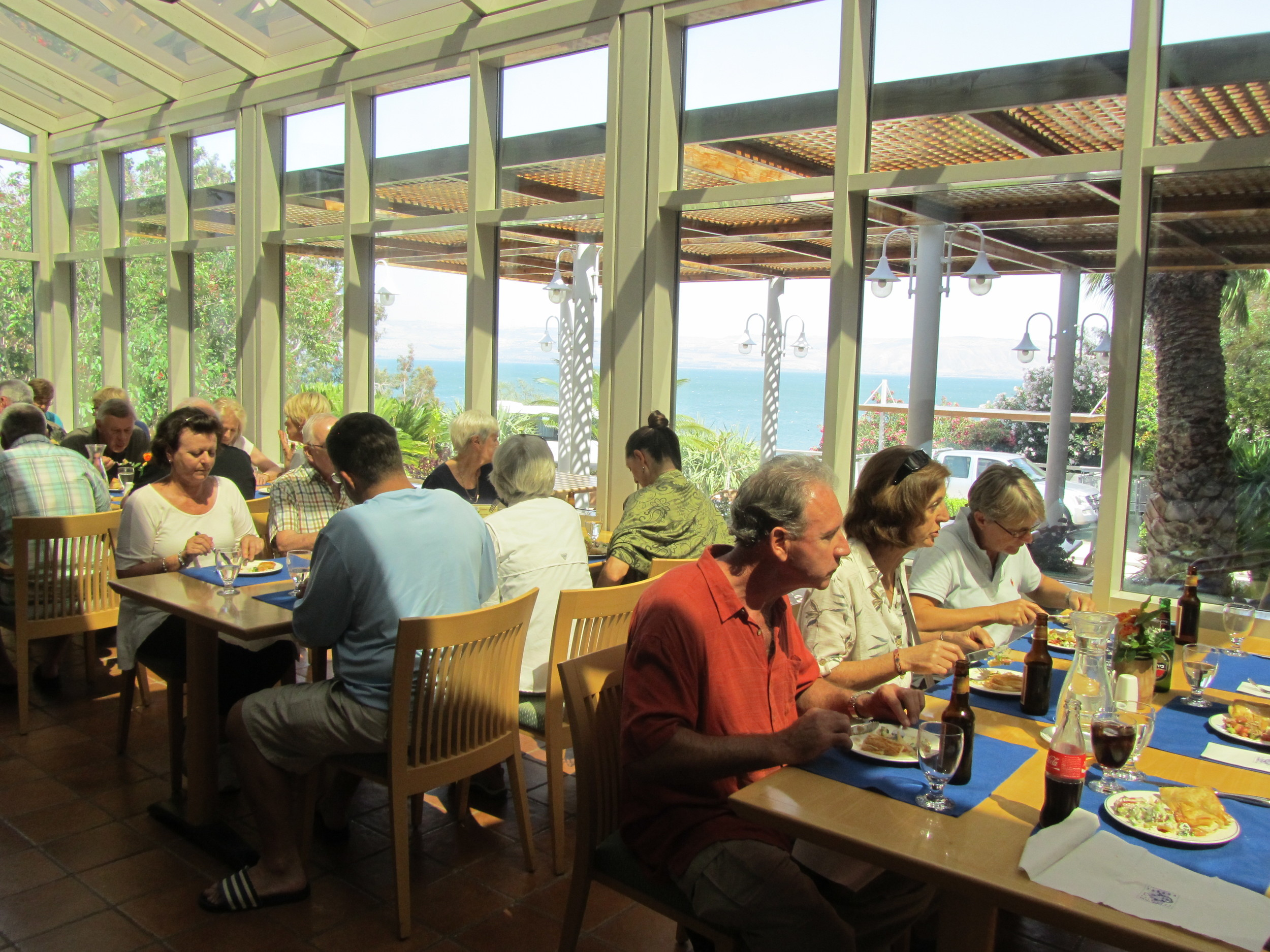 Another Great Meal Overloking the Lake in the Dining Room of Tabgha Pilgerhaus