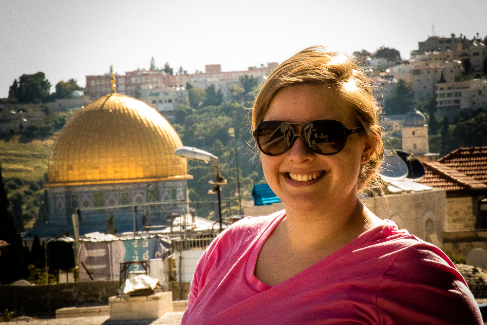 This morning, the weather was great! We have a gorgeous view of the Dome of the Rock on the Temple Mount from where we stay. The guest house where our rooms are is a beautiful stone building with an expansive garden and patio area with stunning views of the city (and Amy!).