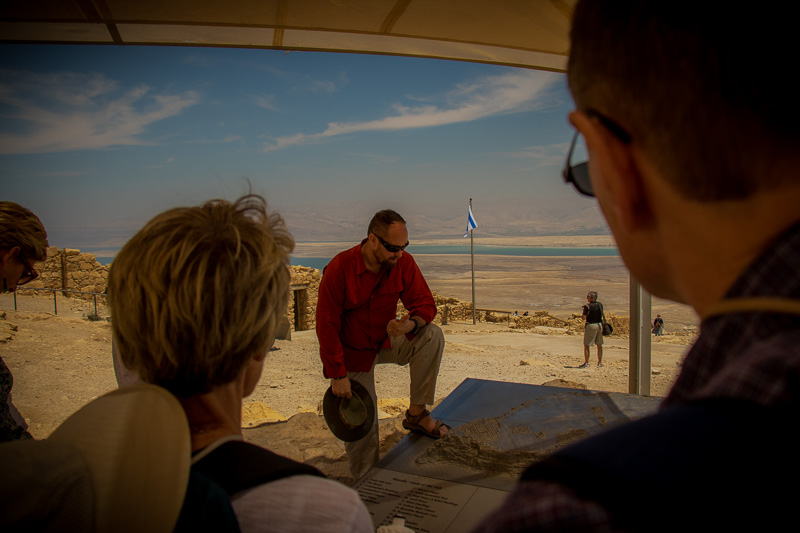 Then we ventured up to Masada, one of King Herod's desert fortresses. Its location high on the top of a mountain with sheer cliffs on all sides makes it a truly formidable defensive stronghold. We learned about and saw in person the stages of construction, habitation, and attack at this famous site.