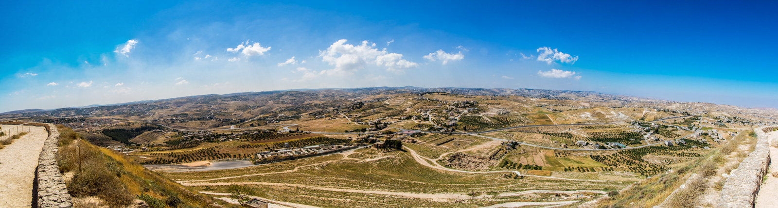 The panoramic view of Bethlehem and the surrounding area from the top of Herodium.