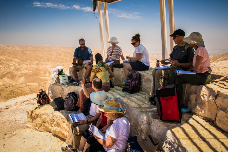 We enjoyed lunch while taking in the desert panorama, got to hang out with an elderly Bedouin, and then had a time of worship in which we reflected on the authority Jesus exercised in his time of testing in this desert.