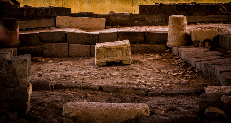 The interior of the first-century synagogue in Magdala, an incredible and unprecedented find. Since the Gospels tell us Jesus taught in all the synagogues of Galilee, we know for certain he stood here and read the scroll that was unrolled on this carved limestone block!
