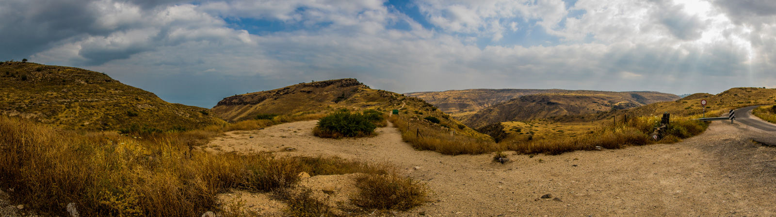 A panorama of the steep-sided ridge on which Hippos was built, one of the ten cities of the Decapolis.