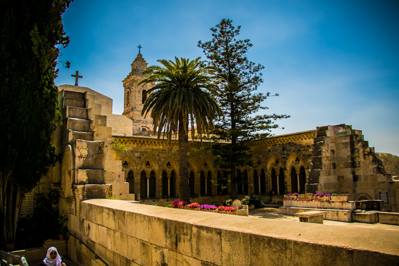 The massive ruins of the Constantinian Church of the Ascension on the Mount of Olives now enclose a lovely garden where Jesus' teachings overlooking the city of Jerusalem are remembered.