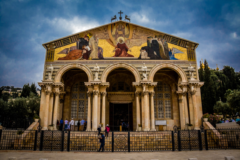 This beautiful Church of All Nations stands next to an ancient grove of olive trees known as Gethsemane at the base of the Mount of Olives.