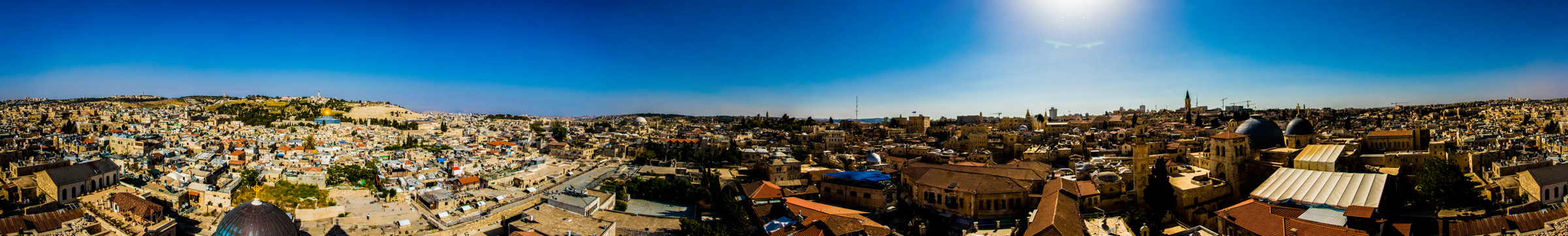 Another amazing panoramic shot by Bobby Rognlien, this one of the entire city of Jerusalem, from the bell tower of the Lutheran Church of the Redeemer.