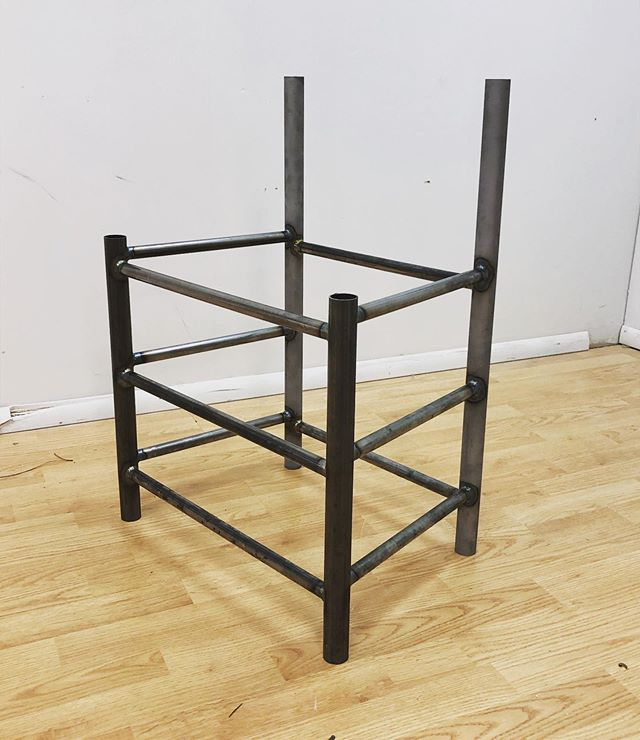 Started working on the Shaker dining chair, and managed to get it mostly welded together.  I'm not sure about the proportions, but hopefully it'll look better once I taper the legs.  More to come! . . . #fabrication #welding #womenwhoweld #womenweldtoo #furniture #furnituredesign #steelfurniture #steel #metal #metalworking #chairs #chairnerd #shakerchair #craft #craftsposure #craftsperson #craftswoman #wip