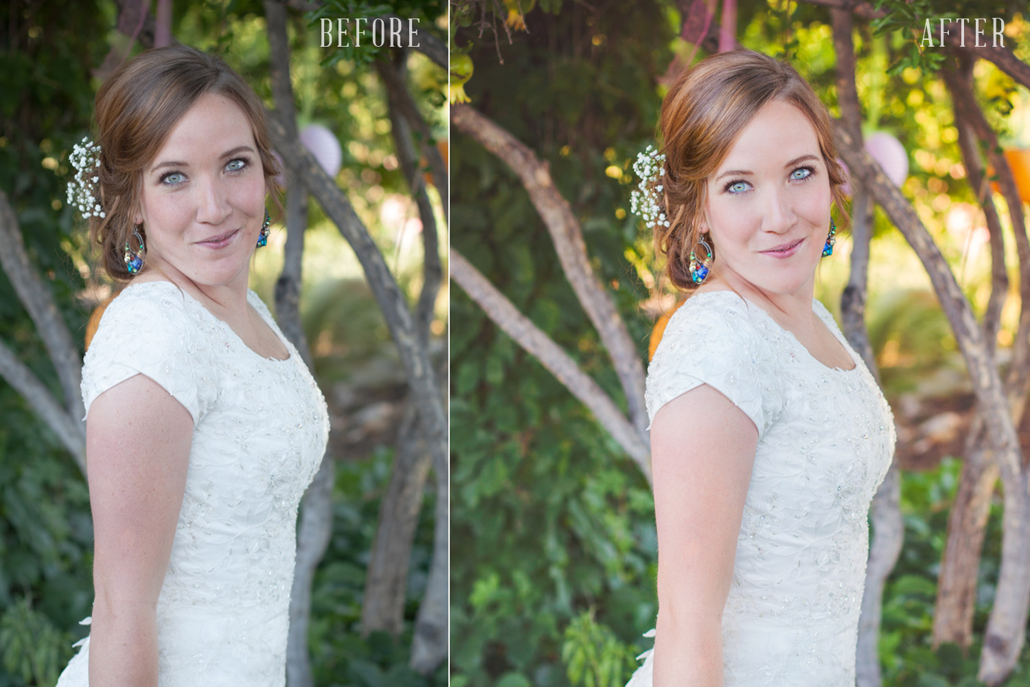 Before & after editing in Lightroom and Photoshop.