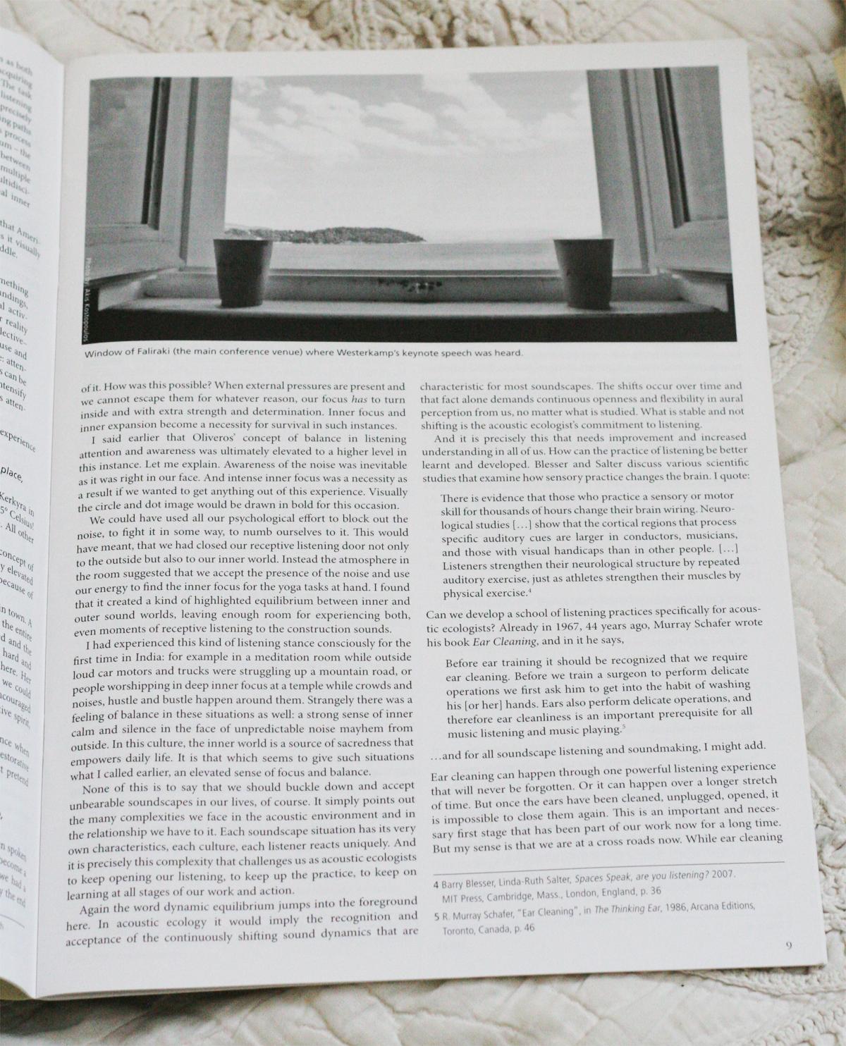 Sample page layout,  Soundscape  journal