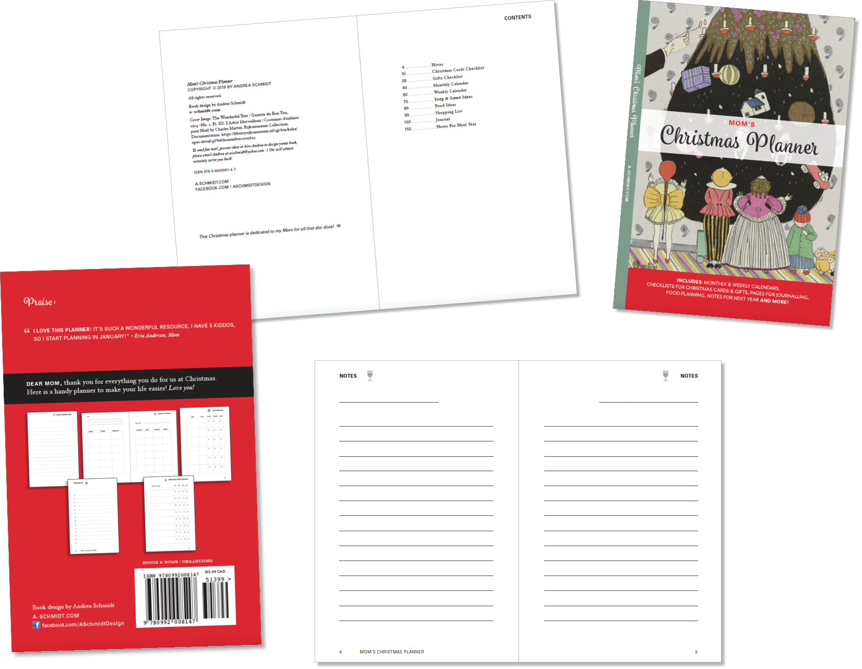 """Front cover (plus spine), back cover, and a few of the interior pages (called a """"spread"""" by book designers) of Mom's Christmas Planner!"""