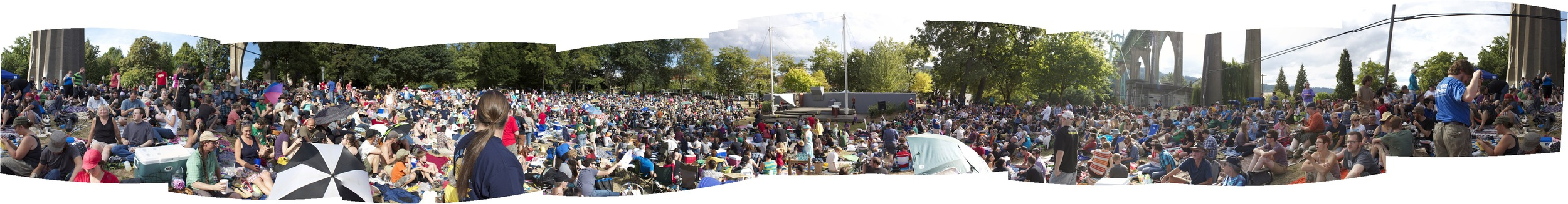 "Panoramic shot of ""The Trouble With Tribbles"" in Portland's Cathedral Park. (click for close-up)"