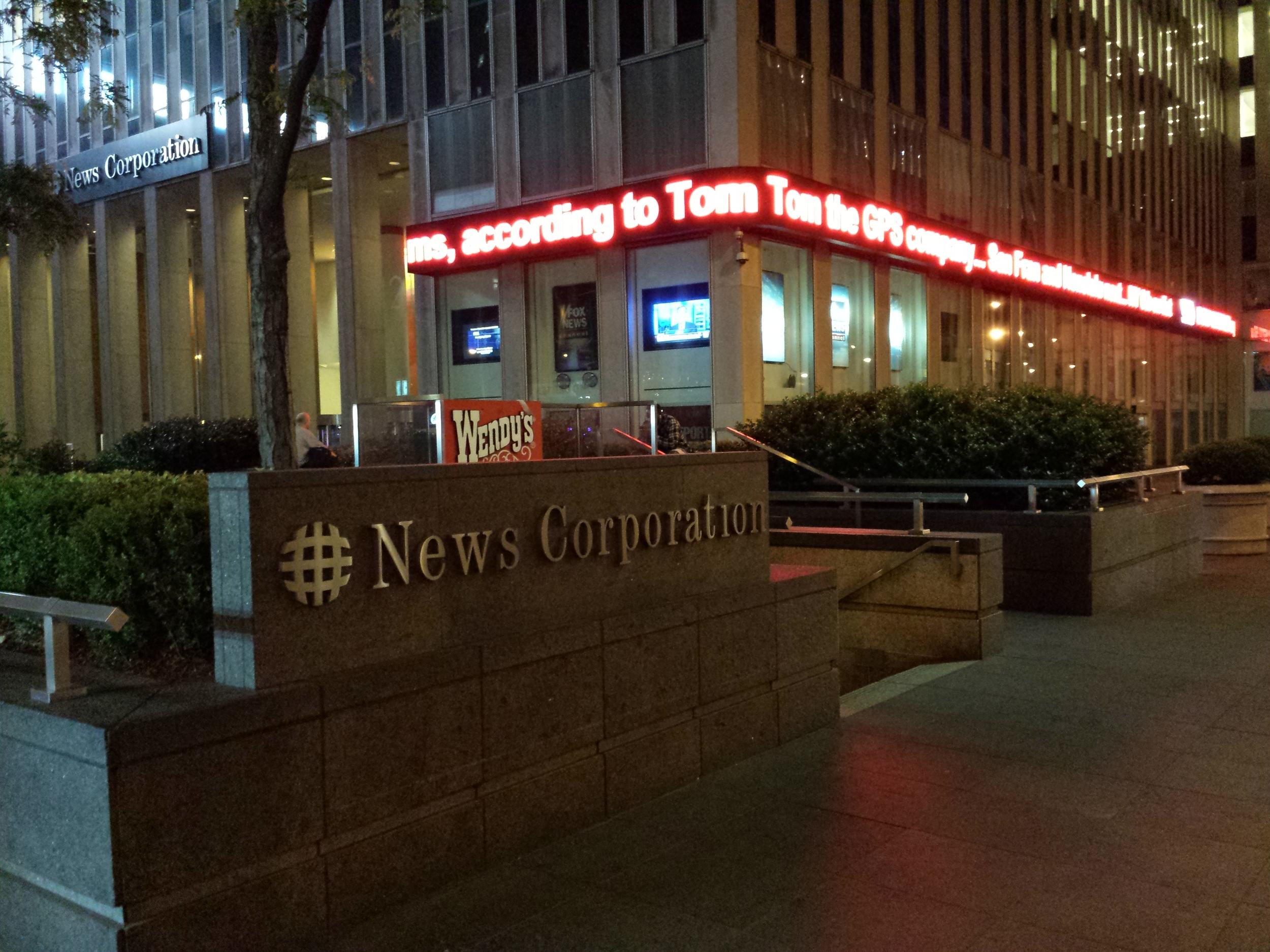 "Fox News Headquarters. Motto: ""We report, you decide."" I report this corner stank of urine."
