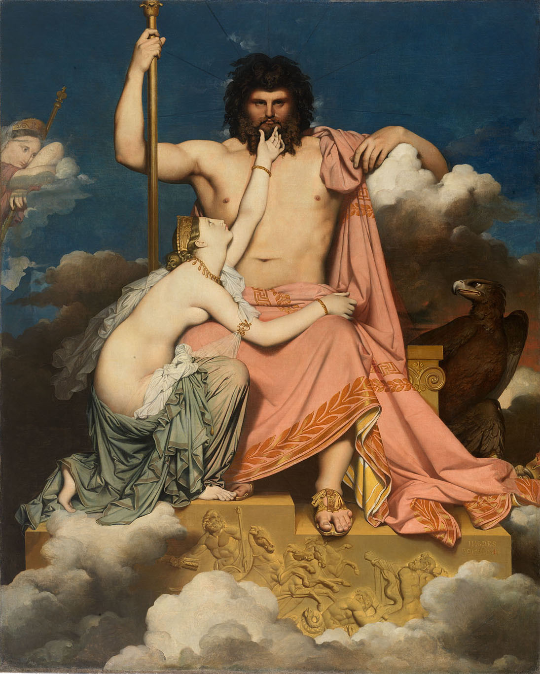 """""""Jupiter et Thétis"""" by Jean Auguste Dominique Ingres, 1811. Ingres is such a wonderful weirdo! This is a scene from  The Iliad  where Thetis begs Zeus to intervene on behalf of her son, Achilles. Jupiter is the Roman name for Zeus. The spouse of Zeus, Hera, is on the far left as a distant spectator. In my book, Zeus and Hera sit right next to each other. But, really, Ingres is weird! I mean, look at Zeus' toes!"""