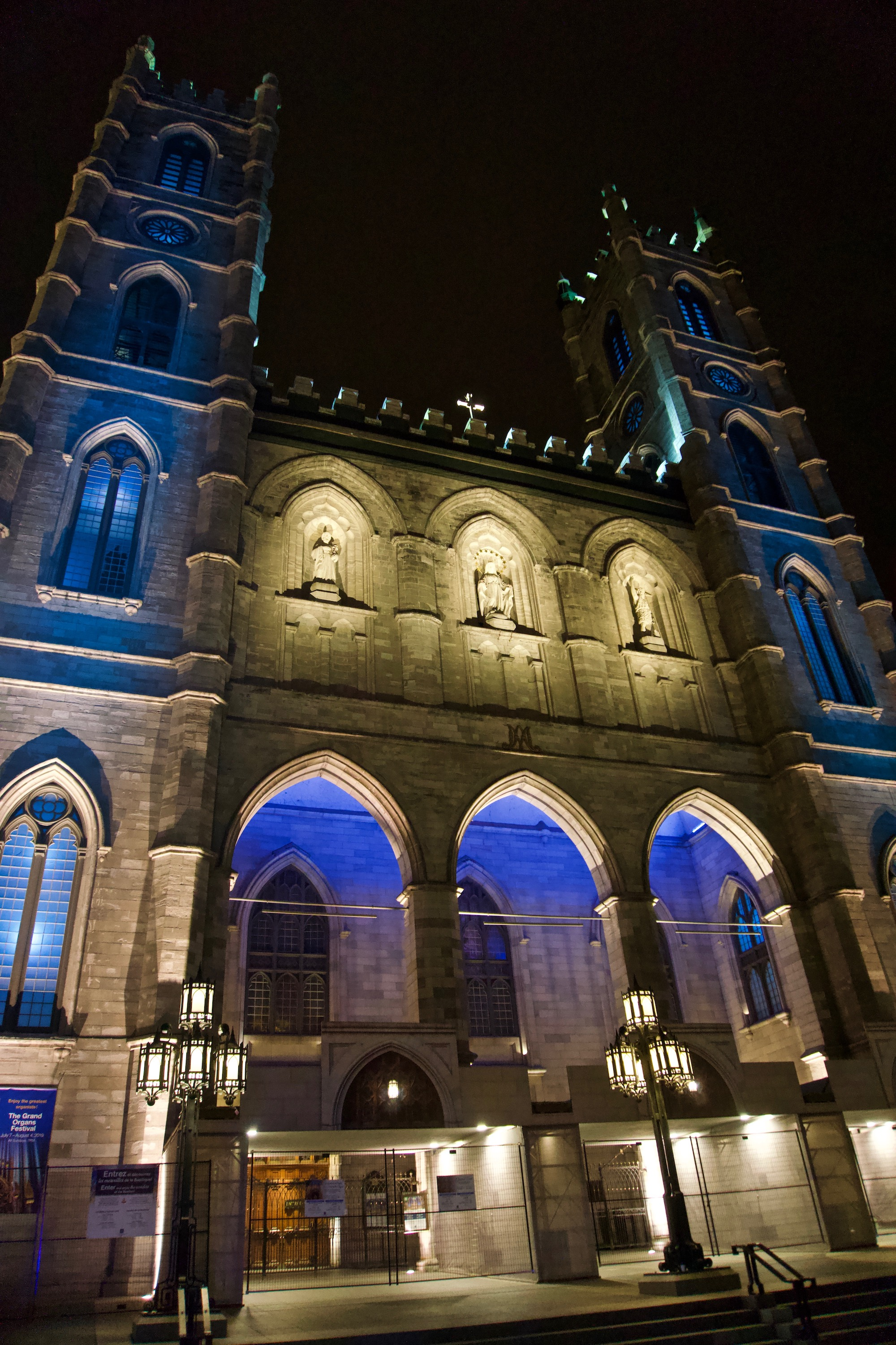 Basilique Notre-Dame De Montréal on Canada Day en route to the fireworks show at Old Port.
