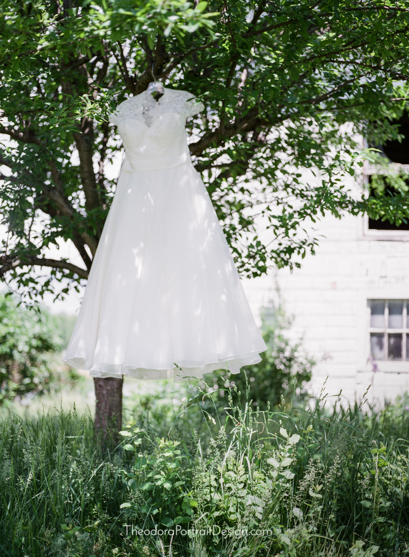vintage inspired tea length wedding gown     www.TheodoraPortraitDesign.com   film wedding photography